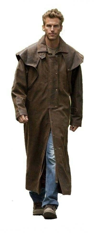 Brown Men's Genuine Cowhide Leather Fashion Steampunk Riding Trench Coat