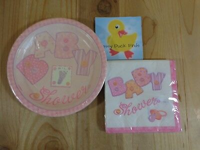 Baby Shower GIRL BABY PINK STITCHING 8 Dessert Plates 16 Beverage Napkins