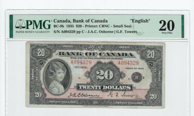 1935 Bank of Canada BC-9b, $20 Osb/Tow SN: A094329  PMG VF-20 Sm. Seal, English