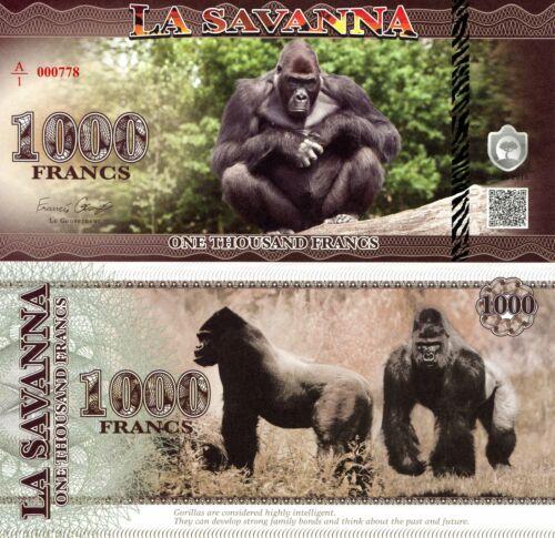 LA SAVANNAH 1000 Francs Fun-Fantasy ART Banknote 2016 Private Issue Gorilla