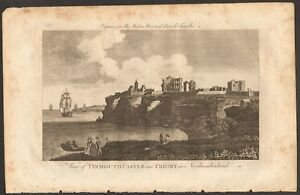 1779 ca ANTIQUE PRINT- NORTHUMBERLAND - VIEW OF TINMOUTH CASTLE AND PRIORY