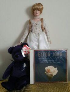 PRINCESS TY BEANIE BABY, ELTON JOHN CD, PRINCESS DIANA DOLL