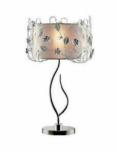 34 in. Chromed Silver Crystal Table Lamp