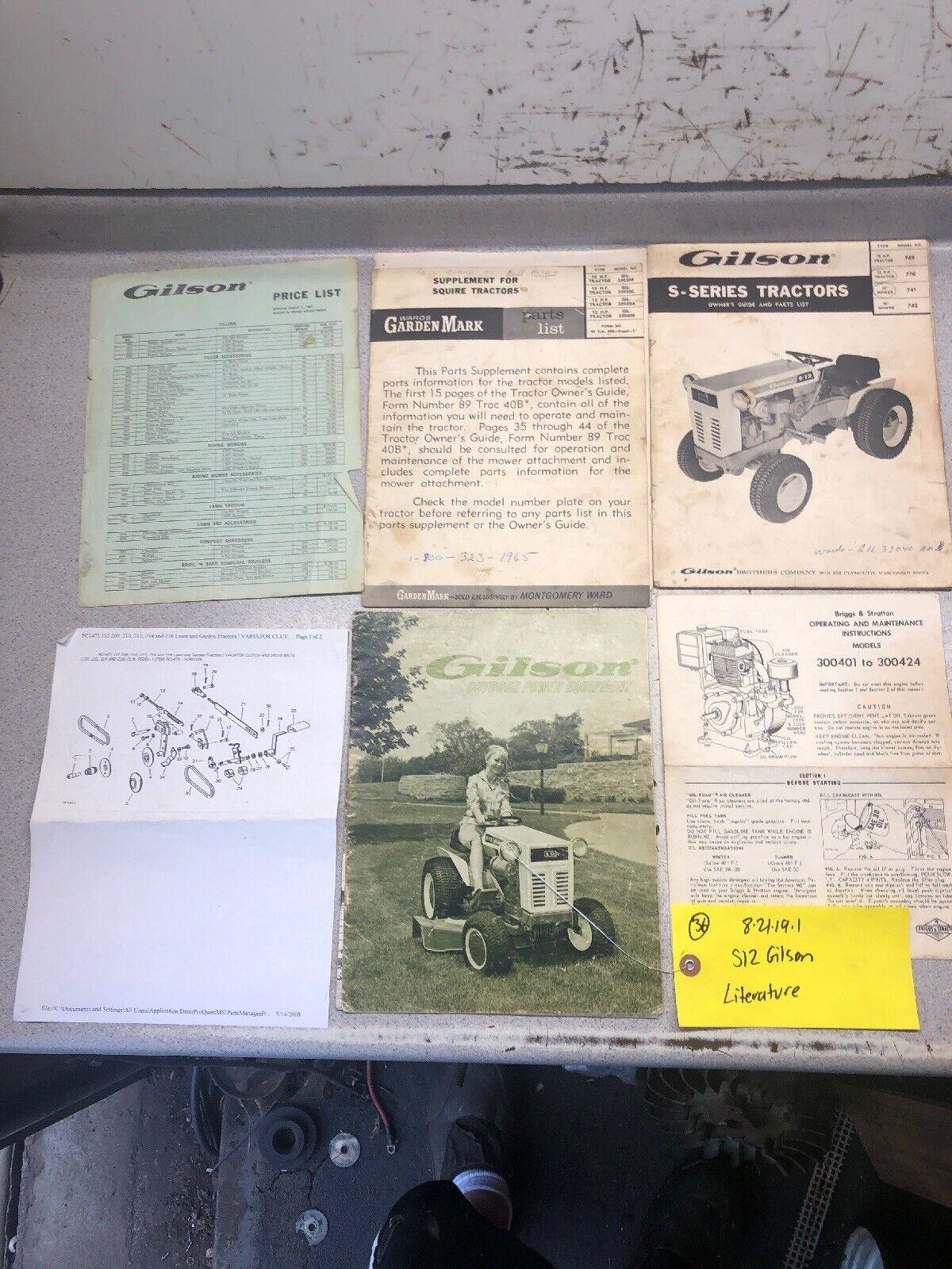 Guía de los propietarios de Gilson S-12 S-10 Tractor de lista de piezas, folleto de motor + anuncio
