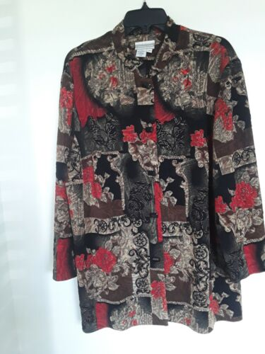 Coldwater Creek Shirt 1X Multi Color Floral/Blocks