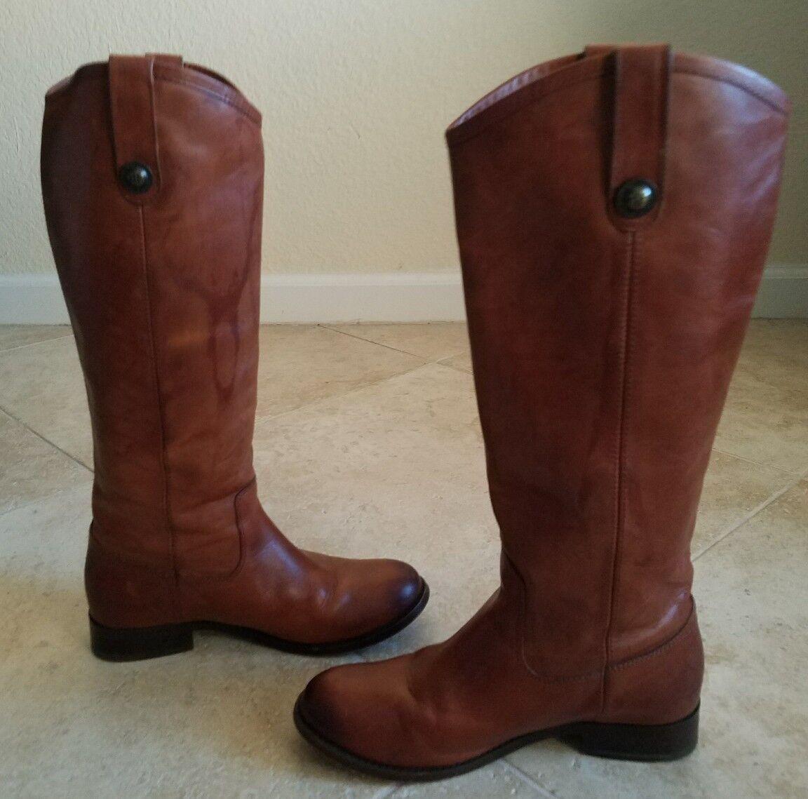 FRYE 'Melissa Button' Cognac Leather Calf Riding Boots Size, 6 B