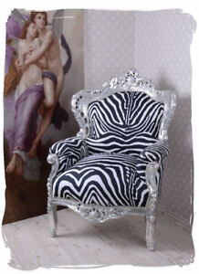 Baroque Wing Chair antique Armchair  Louis XV silver wood royal Throne carved 4250399935902