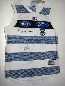 GEELONG-GARY-ABLETT-SNR-HAND-SIGNED-150-YEARS-JERSEY-UNFRAMED-PHOTO-PROOF-COA