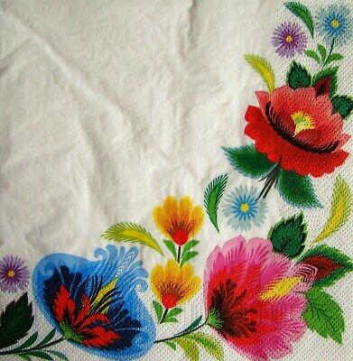 4x Decoupage PAPER NAPKINS BLOSSOM BORDER FLOWERS FLORAL