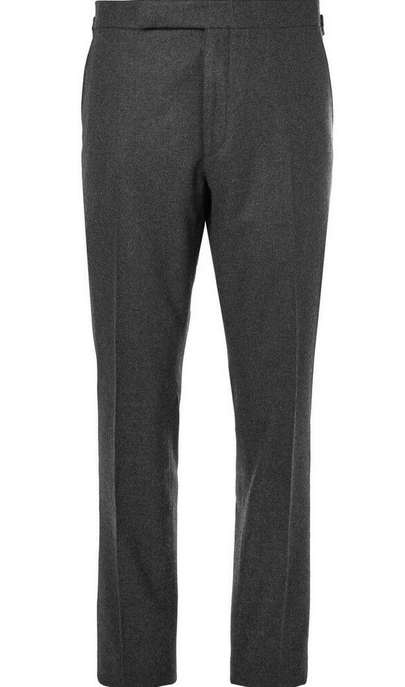 Ralph Lauren Purple Label Mens Anthony Charcoal Wool Dress Flannel Trouser
