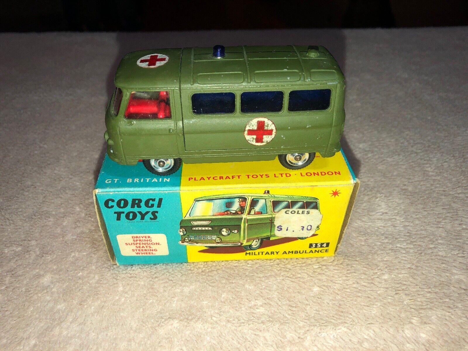 Vintage CORGI numéro 354 ambulance militaire avec BOITE Comme neuf