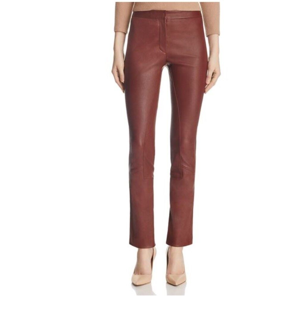 NWT Theory Skinny Leg Leather Pants Size 2 Maroon Deep Chestnut Bristol SALE