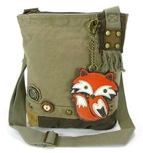Image Is Loading New Chala Messenger Patch Crossbody Fox Bag Canvas
