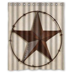 Image Is Loading Western Shower Curtain Texas Star Barb Wire Rustic