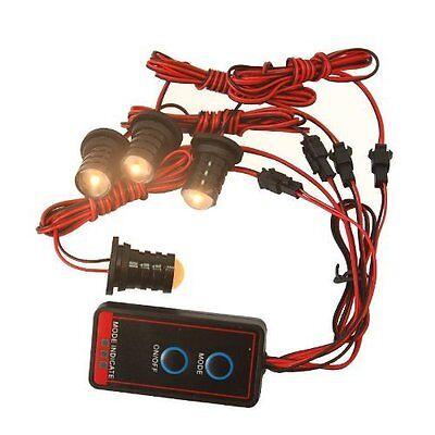 HQRP 4-LED Amber Headlight Emergency Car Flash Strobe Light Warning Lamp Kit 12V