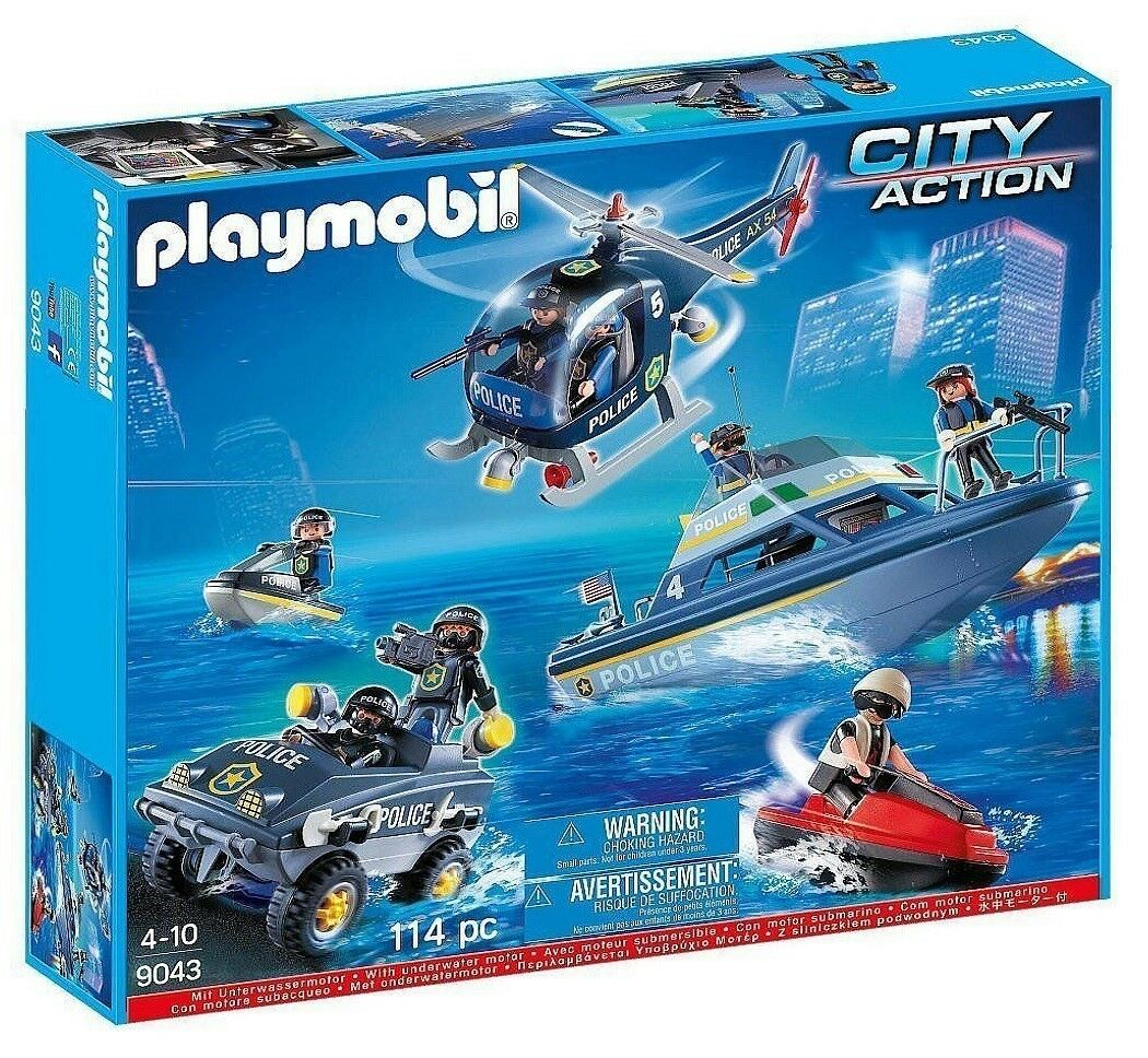 Playmobil 9043 Polizei S.W.A.T. Mega Set mit Motor Neu & Ovp City Action