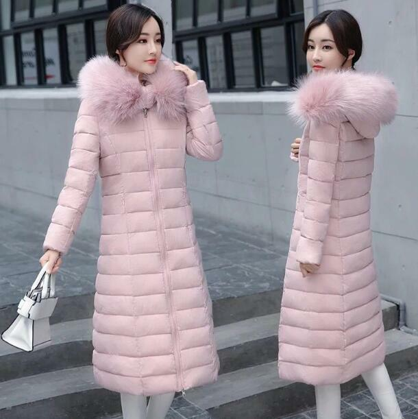 Womens Cotton Blend Padded Faux Fur Hooded Parka Outerwear Slim Fit Overcoat