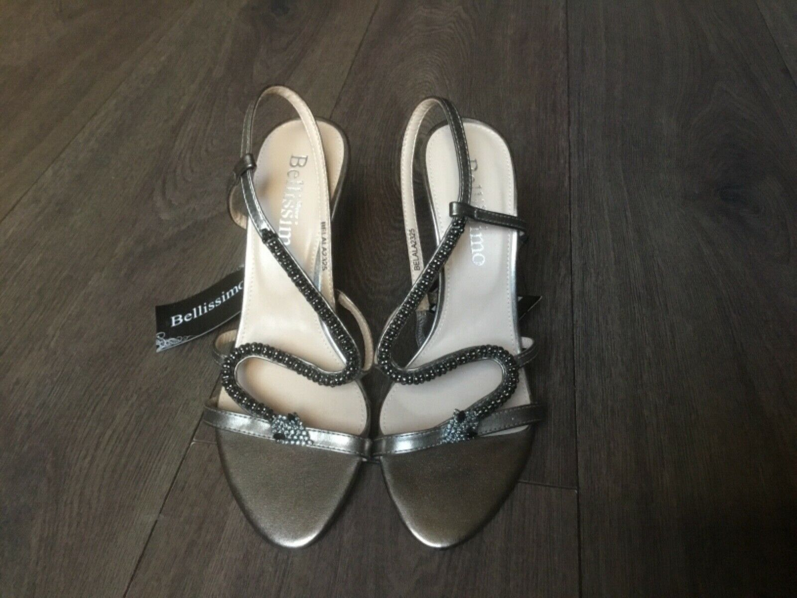 BELISSIMO PEWTER SIZE 3 EMBELISHED HIGH HEEL SHOES  49.99