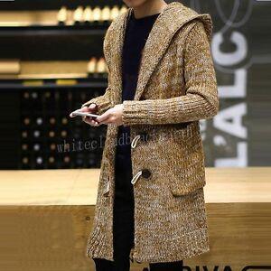 maglia con cappotti cappuccio Uomo maglione Trench a Lungo Cardigan Moda Outwear Loose Fit 0nYOwPqxY