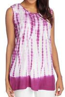 - Oso Casuals® Woven Tie-dye Lace Back Detail Solid Border Tank Top - Sz M
