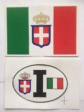 MONARCHIA-SAVOIA-REGNO D'ITALIA- 2 Adesivi-bandiera Sabauda