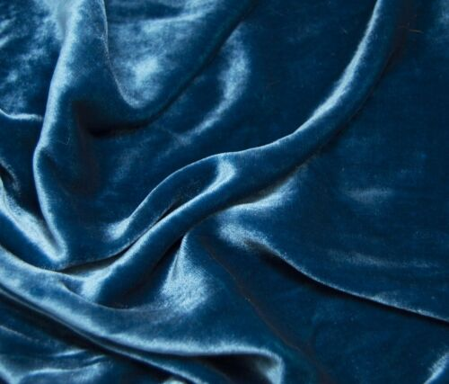 ROYAL TEAL BLUE Silk VELVET Fabric