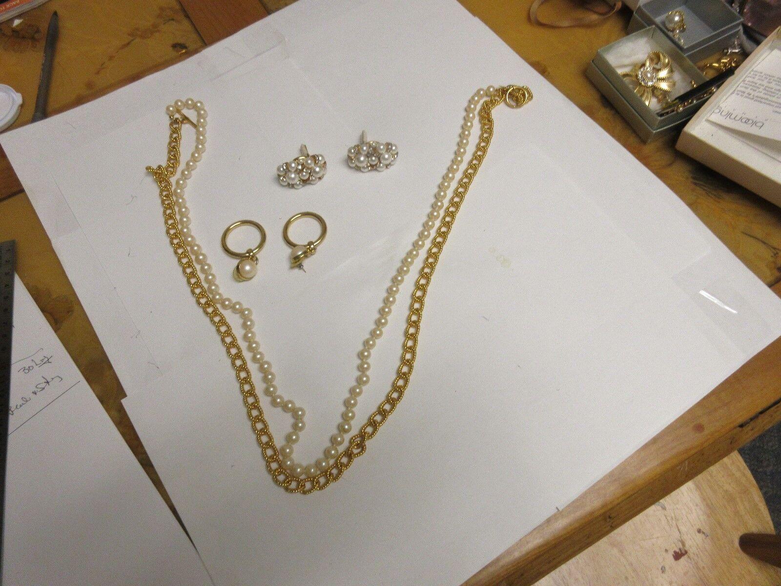 Costume Jewelry , Vintage , Anne Klein , Pearl/Gold , N