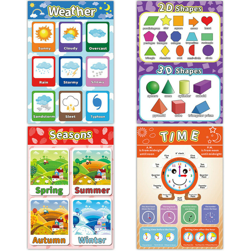 1 Set of 12 Pcs Children Early Education Wall Map Wall Charts Cartoon Posters