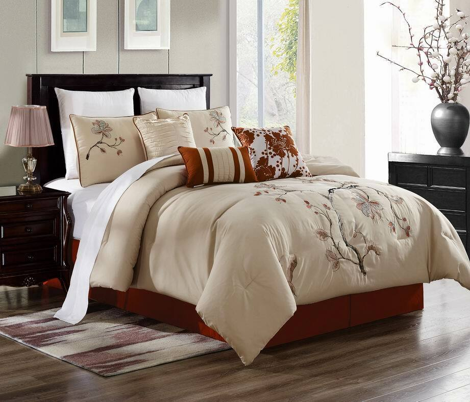 7 Piece Beige+Light rot Embroidery  Asian Flower Comforter Set Bedding Ensemble