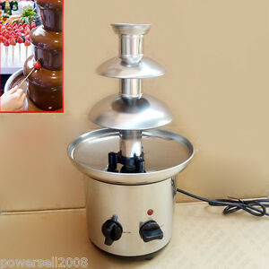 chocolate machine 40cm height 3 tier stainless steel chocolate fondue fountain ebay. Black Bedroom Furniture Sets. Home Design Ideas
