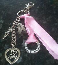 I Love Ballet dance pink keyring key chain handbag bag charm - handmade & unique