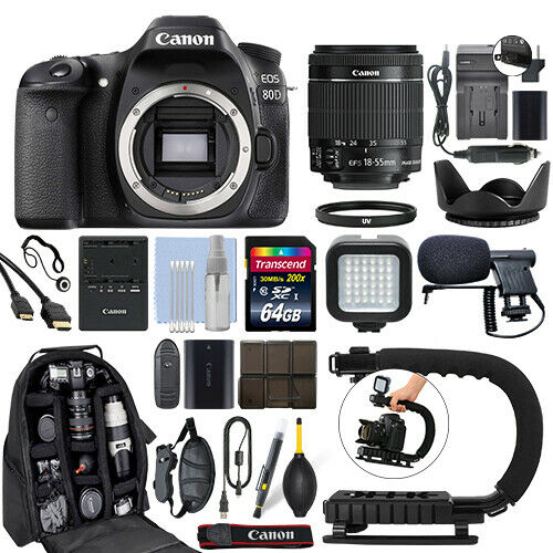 Canon EOS 80D Digital SLR Camera with 18-55mm IS STM Lens + 64GB Pro Video  Kit
