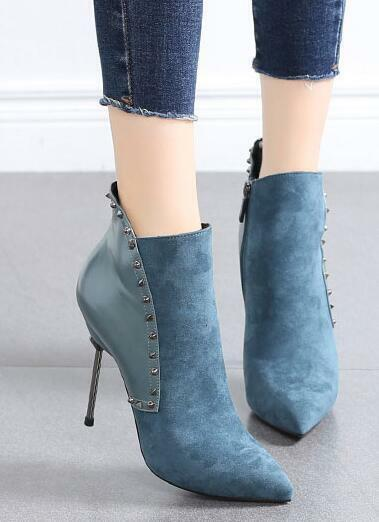 Womens Mixed Suede Rivet Pointed Toe Ankle Riding Boots High Heels Stilettos