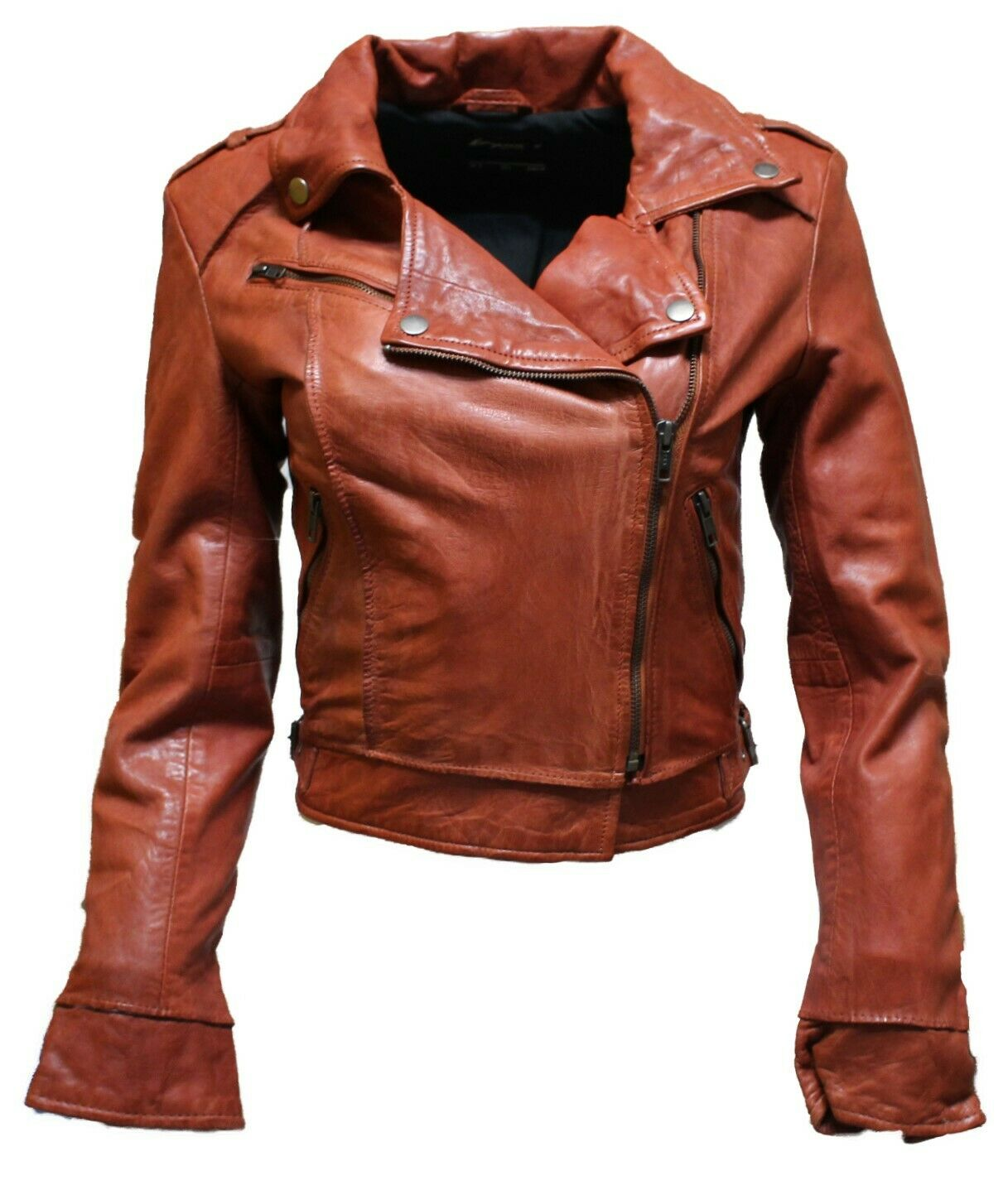 Hampton Damänner Raw Edge Rost Orange Retro Rock Biker Echtleder Jacke