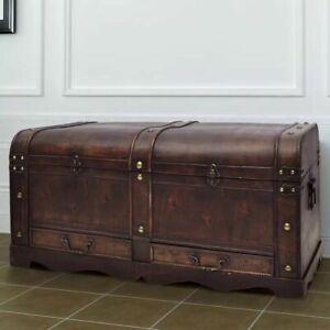 vidaXL-Vintage-Large-Wooden-Treasure-Chest-Brown-Pirate-Colonial-Storage-Trunk