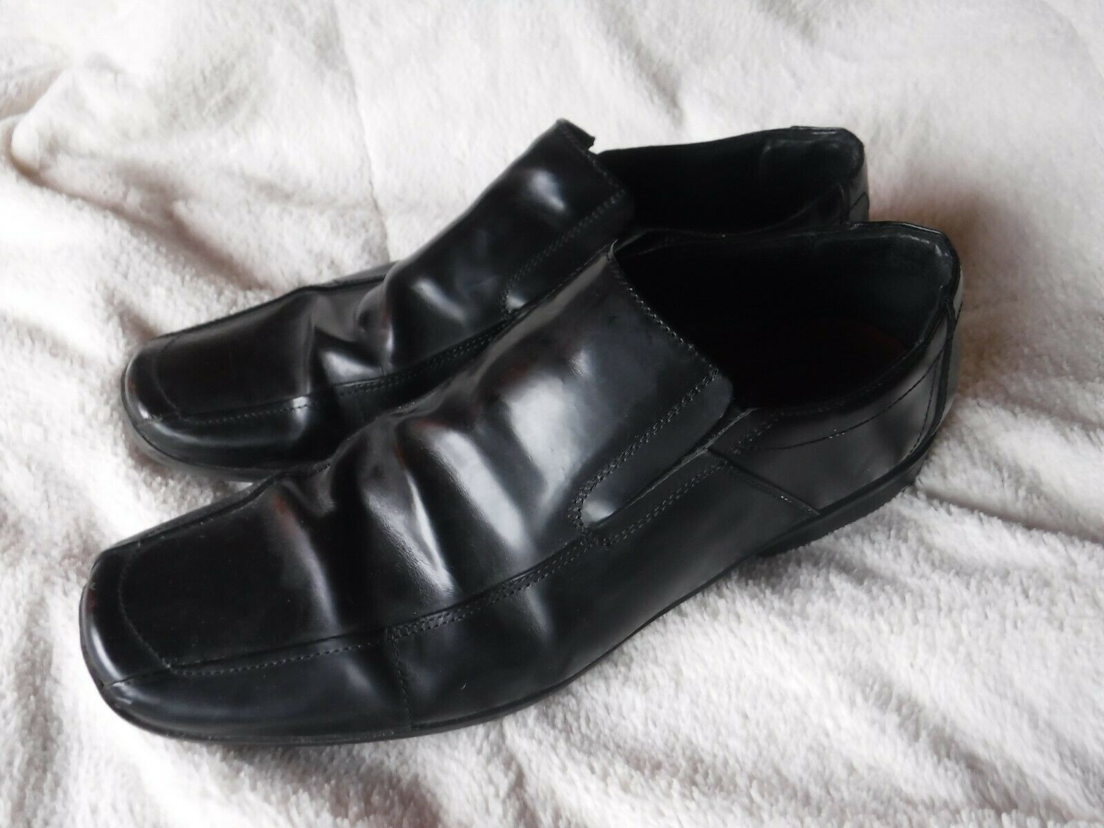 Mens Kenneth Cole Reaction Size 12 M Black Slip On Loafer Shoes Black