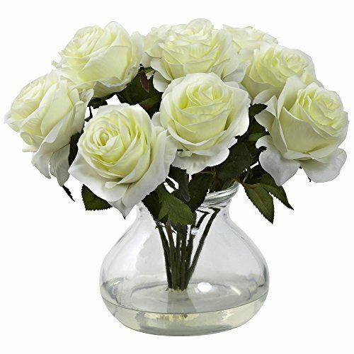 Nearly Natural White Silk Rose Bouquet Arrangement In Vase W Faux Water 1367 Ebay