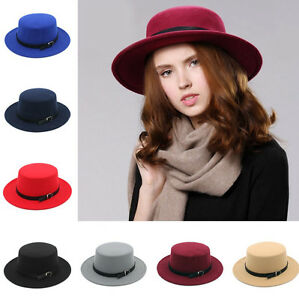Men Women Boater Hat Sailor Cap Wide Brim Pork Pie Sombrero Fedora ... a6c74d9dde0
