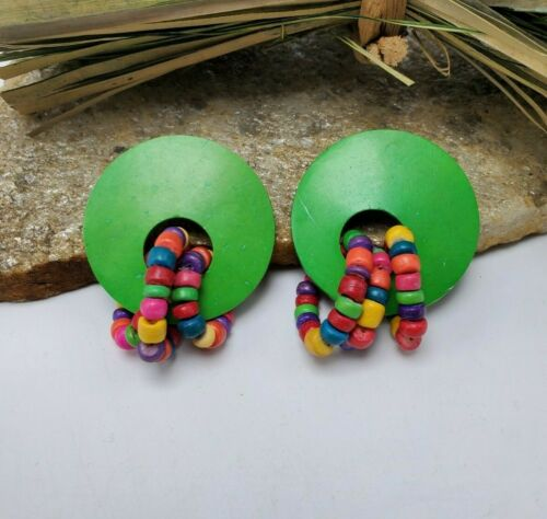 Vintage 1980/'s Teal Yellow Purple Green White Abstract Pop Art Painted Wood Earrings