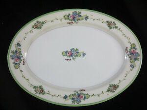 Vintage-Hand-Painted-Floral-Green-Border-Decorated-Serving-Platter-Made-In-Japan