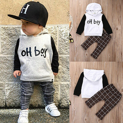 Cool Baby Boy Kids Wam Hoodies Sweatshirt Pants 2pcs Outfits Clothes Set 0-3Y