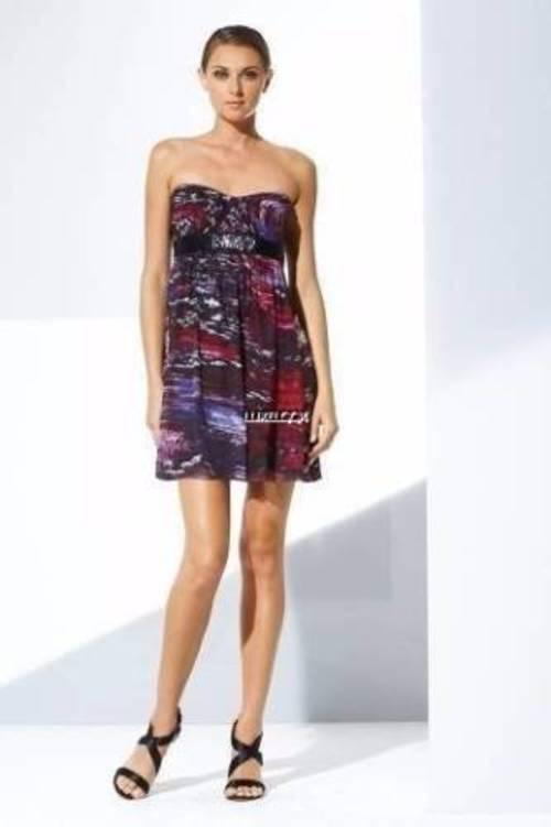 NWT BCBG MAXAZRIA SUNSET REFLECTIONS AZALEA SILK DRESS 10