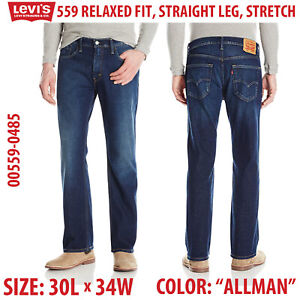 Levis-559-Relaxed-Straight-Leg-Fit-Stretch-Jeans-30-x-34-00559-0485-Allman-Blue