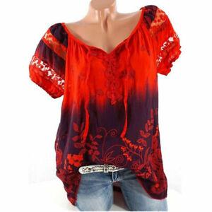 Floral-Top-Summer-Boho-Women-Short-Tunic-T-Shirt-Gypsy-Blouse-Loose-Beach
