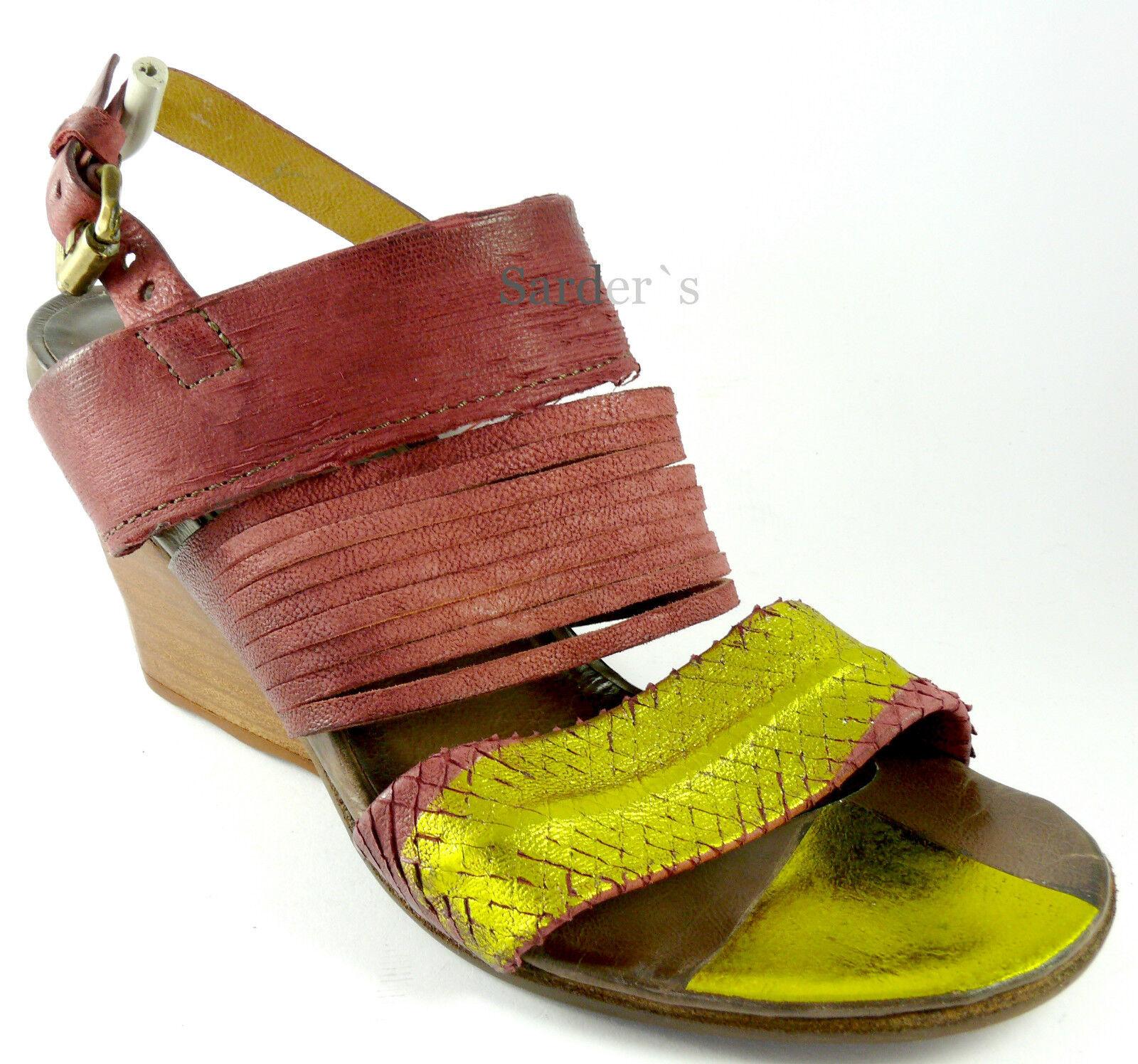 AIRSTEP A.S.98 Sandalette 42 LEDER Schuh Rot Gold Antik  Keil Sandale NEU