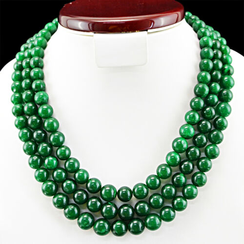 EXCLUSIVE 932.50 CTS EARTH MINED 3 LINE RICH GREEN EMERALD ROUND BEADS NECKLACE