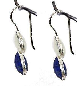 Women-Jewelry-925-Sterling-Silver-Rainbow-Moonstone-Lapis-Earrings-3-3-Cm-CCI