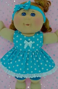 Play-n-Wear-Dolls-Clothes-For-14-034-Cabbage-Patch-POLKA-DOT-DRESS-BLOOMERS-HEADBAND