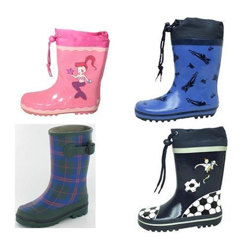 Kinder Gummistiefel Regenstiefel mit Motiv Junge Mädchen verschiedene Muster