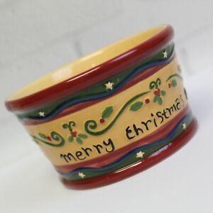 Teresa Kogut Merry Christmas Holiday Dip Serving Bowl Park Designs Hand Painted